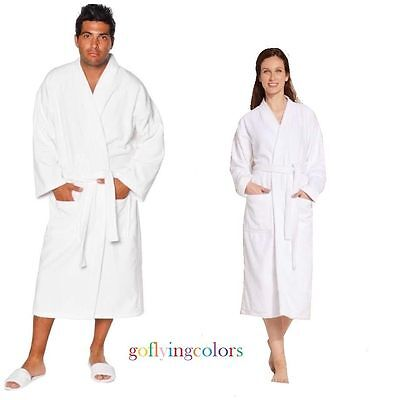 New Men Women White Terry Kimono 100% Cotton Bathrobe Economical Spa/Hotel Robe