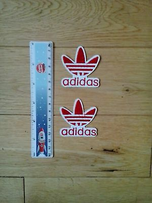 2 x ADIDAS Embroidered Logo Iron/Sew-on Badge  NEW