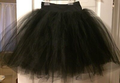Women's Size  Medium (6-8) Adult Black Ballet Tutu With Attached Panty