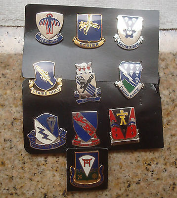 Army,crest,di, Set Of 10 Different Airborne Infantry Regiment