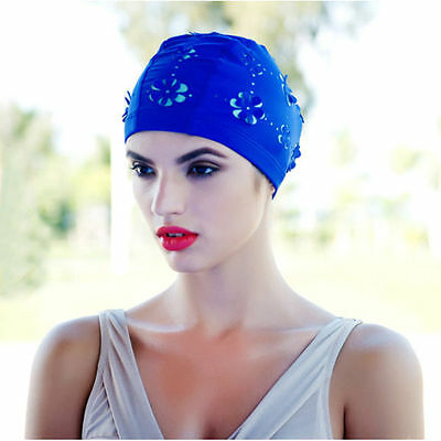 Ladies Retro Style New Flower Floral Hollow Swimming Hat Long Hair Bathing Cap L