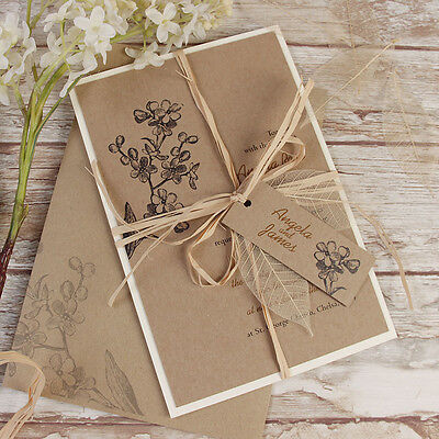 Kraft Paper Rustic Chic Shabby Chic Wedding Day Invitation Personalised Sample