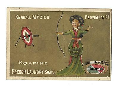 Old Trade Card SOAPINE French Laundry Soap Kendall Mfg Providence Archery Killer