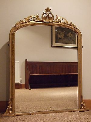 Large English Antique Giltwood Overmantle Mirror C1885