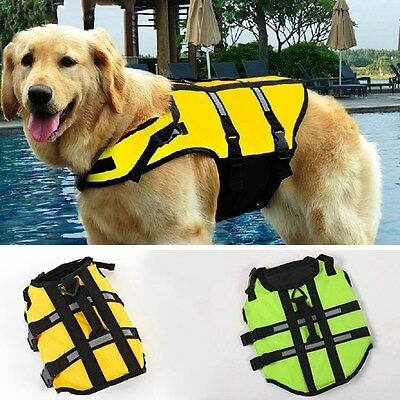 Dog Life Jacket Pets Swimming Life Preserver Safety Vest Clothes Bright Color