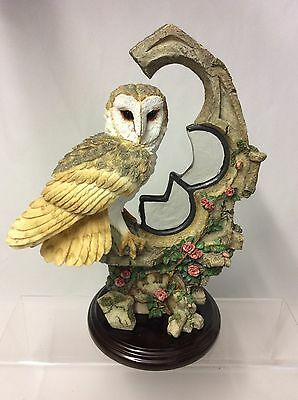 Stunning !! Country Artists Barn Owl With Stained Glass