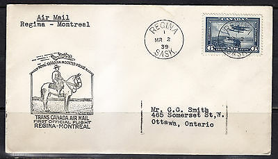 First Flight Cover, 1939, Regina - Montreal