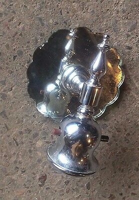 antique chrome and glass scalloped edge single bulb wall sconce