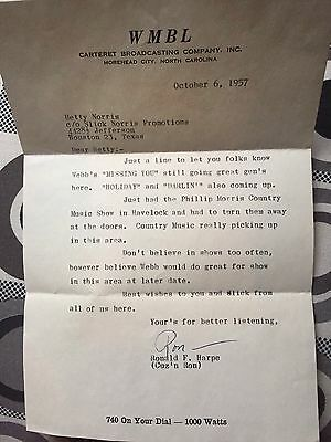 1957 WMBL Country Music Letter And Envelope Webb Pierce