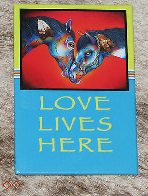 "LEANIN TREE ""LOVE LIVES HERE""~Friendly Horses~#67244 Magnet~Artist Micqaela J"