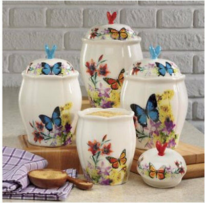4-Piece Butterfly Canister Set Ceramic Counter Top Decor Baking