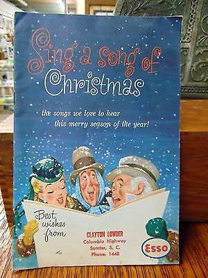 Vintage 1954 Esso Gas Christmas Song Book Clayton Lowder Sumter South Carolina
