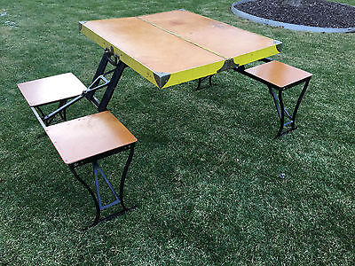 Vintage Milwaukee Stamping Folding Picnic/Camping Table with Benches