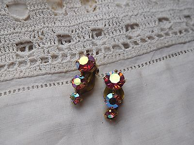 Dazzling Vintage1950s Pink Rainbow Crystal Clip On Earrings