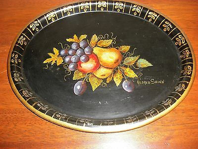 Stunning Vintage Oval Hand Painted Toleware Tray Signed Mildred Shinn