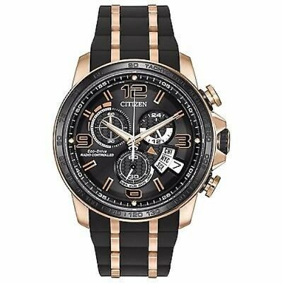 NEW CITIZEN Eco-Drive Chrono Radio Control Rose Gold Plated Watch BY0119-02E