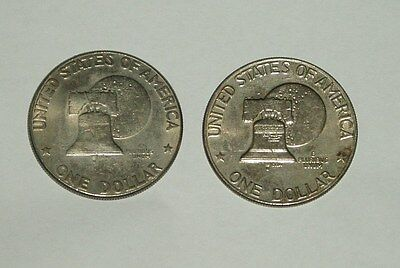 USA ONE DOLLAR COINS x 2 DWIGHT D EISENHOWER - COMMEMORATIVE - CIRCULATED c1976