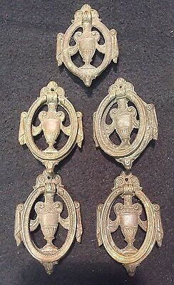 #100 5 Antique Ornate Victorian Federal Oval Solid Brass Drawer Pull Handle Lot