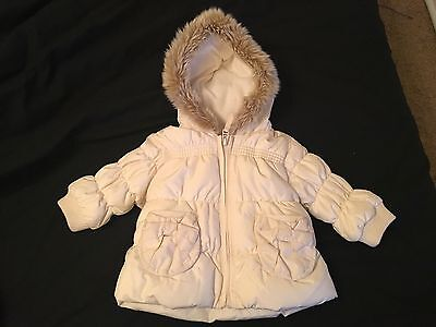 Girls NEXT Cream Winter Padded Fur Hooded Coat UK Size 3-6 Months
