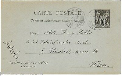B8166cgt France Letter Card c1895 with Reponse card