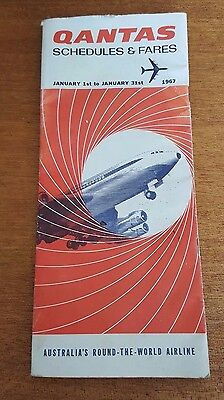 Vintage QANTAS 1967 Schedules & Fares Booklet Collectable Airline Advertising