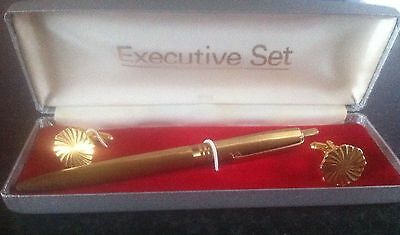 Vintage Gold Plated EXECUTIVE Pen & Cufflinks Set, BOXED - USA - VGC