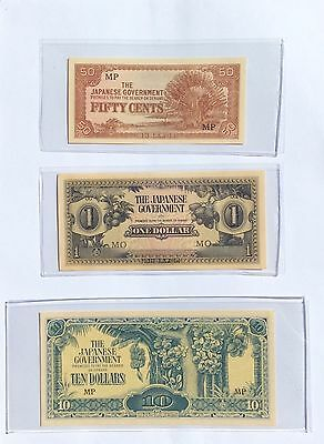 JAPANESE GOVERNMENT BANKNOTES CH. Gem Unc. 50 Cent, 1 Dollar & 10 Dollars