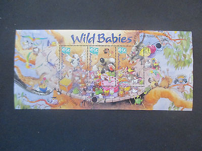 No-2--2001  MINI  SHEET WILD  BABIES   CANCELLED 1st  DAY  ISSUE-- NO  GUM  -A1