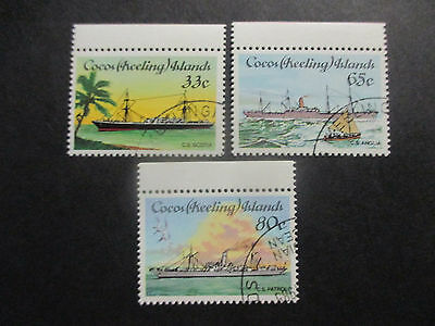 No-2--1985  COCOS   ISLAND--CABEL  SHIPS  -3  STAMPS   CANCELLED  TO  ORDER