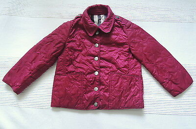 Burberry childrens girls raspberry pink quilted puffer coat jacket Age 3 y