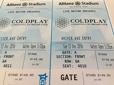 Coldplay Sydney - 2 x Tickets - Gold/Front Standing - Tues. 13 Dec
