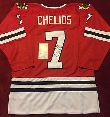 CHRIS CHELIOS Autographed Custom BLACKHAWKS Jersey!  JSA Certified!