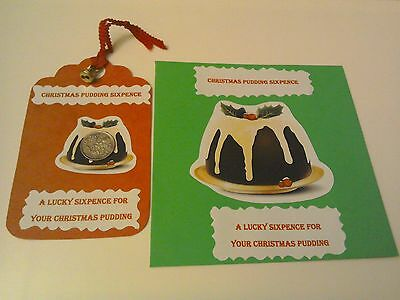 Lucky Christmas Pudding Sixpence~Fully Decorated Red Gift Tag & Bell & Envelope