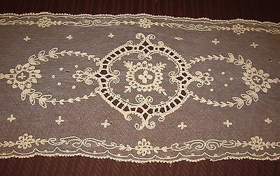 "Antique Ecru French Tambour Lace Runner 13 3/4"" x 32"""