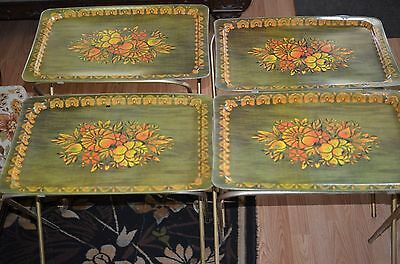 set of 4 tray tables-needs new clips underside-beautiful mid century floral flow