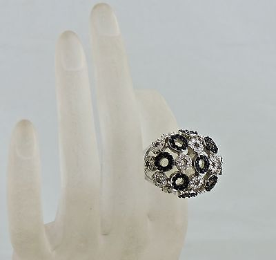 Silver Plated Ring Mushroom Style Cocktail Black/white Rhinestone Flower Size 8