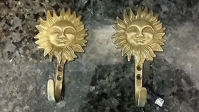 Pair Vintage Brass Hooks, Sun with Happy Face
