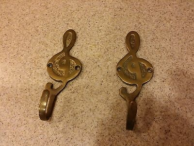 """Vintage TWO Brass Hooks shaped as MUSICAL NOTES - 5"""" long - Decorator pieces"""