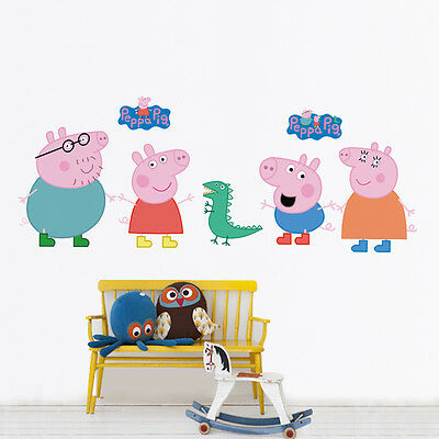 LARGE PEPPA PIG 7 Wall Stickers Kids Bedroom Nursery Decor Mural Decal Vinyl NEW