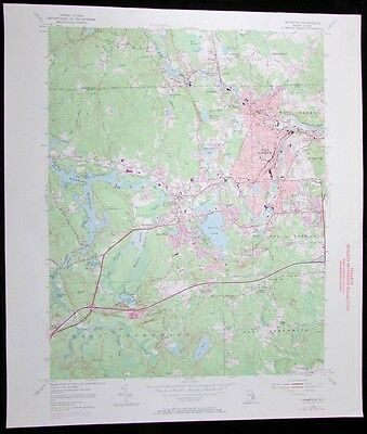 Crompton Rhode Island Tiogue Lake West Warwick vintage 1972 old USGS Topo chart