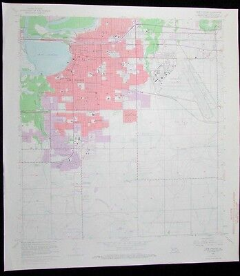 Lake Charles Louisiana Chennault Airport vintage 1968 old USGS Topo chart
