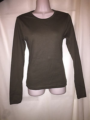 Wholesale Lot of 6 WOMEN'S long sleeve Olive Green Shirts Large Blanks