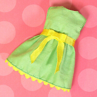 Vintage Skipper Sears Young Ideas Green Party Dress Yellow Trim 1970 EXCELLENT
