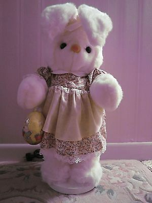 Large White Fur Easter Bunny Articulated Motorized Vintage In Original Dress