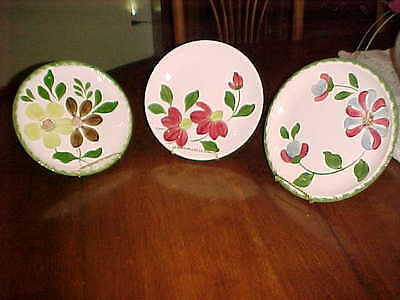 Lot Blue Ridge Southern Potteries Whirylig Green Briar Hand Painted 3 Plates