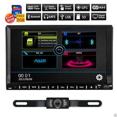 """Camera+7"""" HD Double 2 DIN Touch Screen Car GPS Stereo DVD Player Bluetooth Radio"""