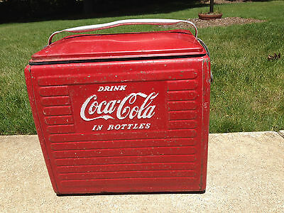 Vintage Estate Coca Cola Coke Metal Cooler Picnic Camp Ice Chest W/tray Acton