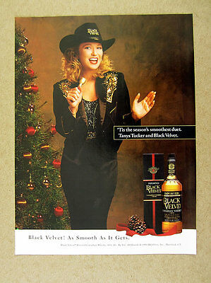 1993 Tanya Tucker christmas tree photo Black Velvet Whiskey print Ad
