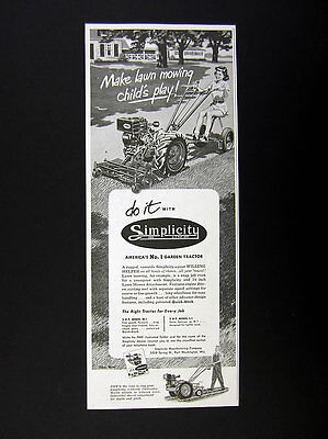 1952 Simplicity M1 M-1 Tractor Lawn Mower Attachment Girl Cutting Grass print Ad