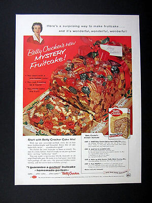 1957 Betty Crocker Cake Mix Mystery Fruitcake Recipe photo vintage print Ad